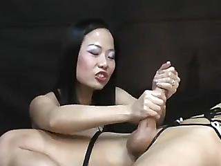 Oriental tugjob femdom