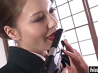 Oriental gal pleases her moist snatch