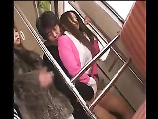 Oriental cutie in fur coat gives a cook jerking in metro