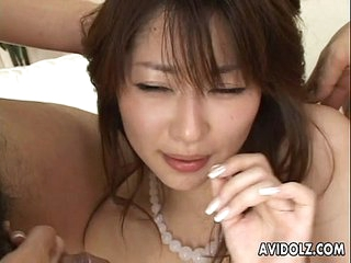 Hairy pussy Asian babe with double cock sucking